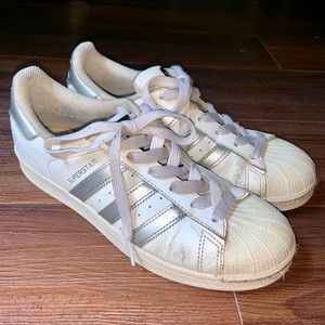 Adidas silver superstar sneakers